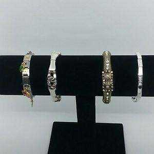 4 piece Silver-Tone stretch bracelet bundle